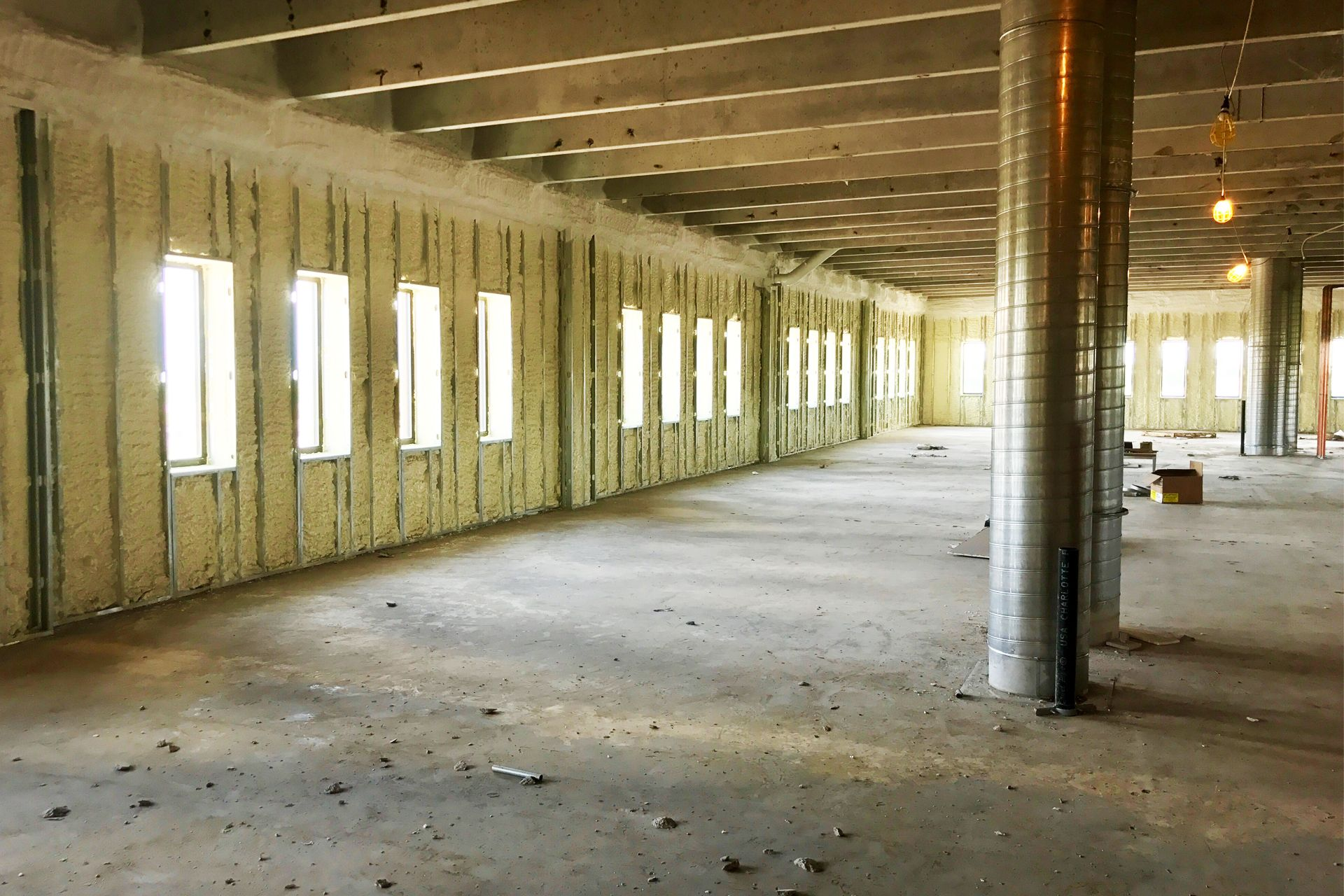 interior commercial building with spray foamed walls