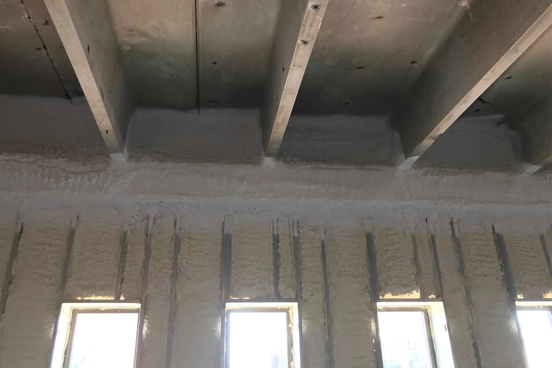 interior commercial building spray foamed wall to ceiling