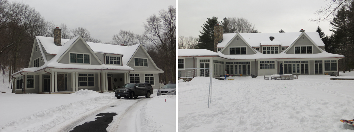 House with snow on roof that is not melting