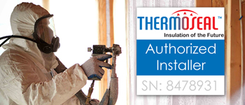 man spraying foam insulation with thermoseal authorized badge overlayed