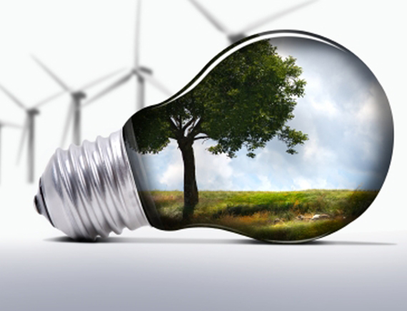 light bulb with green landscape inside