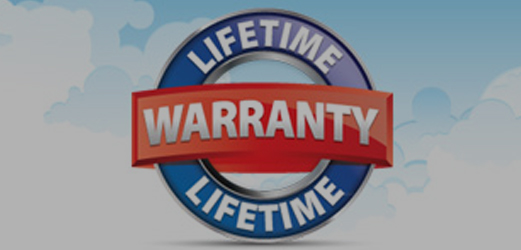 blue and red lifetime warranty circle graphic on top of clouds