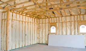 new home construction walls with spray foam insulation