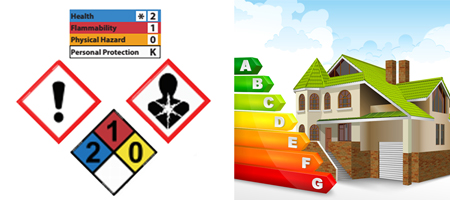 spray foam drum chemical warning hazard icons and house graphic with insulation grades a through g