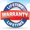 warranty badge seal red blue white clouds